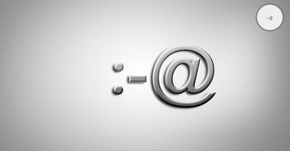 Na imagem, o emoticon :-@ é uma pessoa gritando. O site 'Text Meanings' funciona como um dicionário de emoticons. O usuário digita o rostinho e a página traz o significado