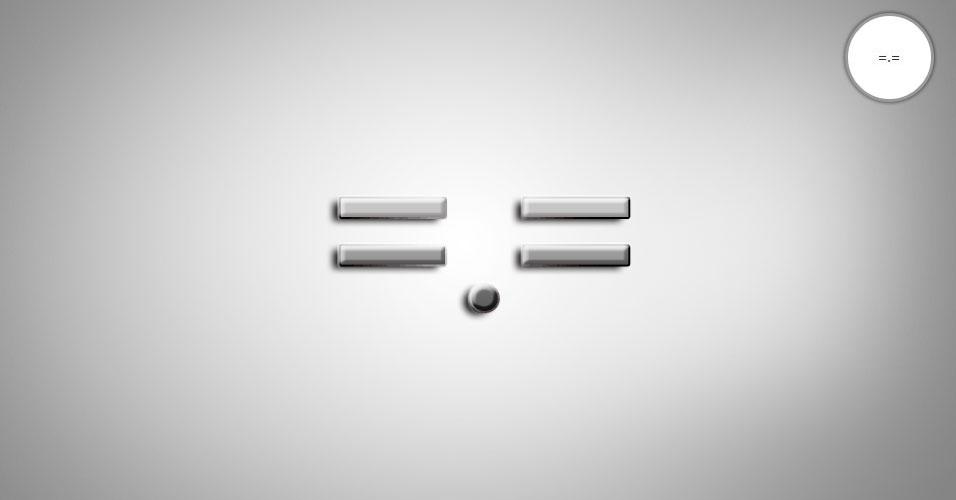 Na imagem, o emoticon =.= é uma expressão azeda ou reprovação. O site 'Text Meanings' funciona como um dicionário de emoticons. O usuário digita o rostinho e a página traz o significado