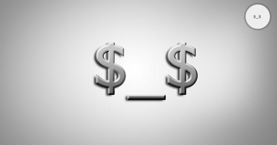 Na imagem, o emoticon $_$ é uma pessoa gananciosa. O site 'Text Meanings' funciona como um dicionário de emoticons. O usuário digita o rostinho e a página traz o significado