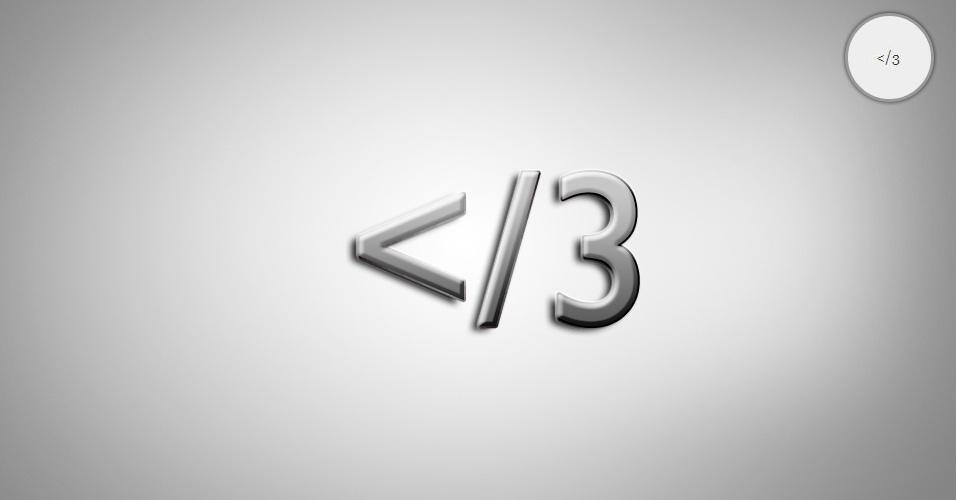 Na imagem, o emoticon </3 é um coração partido. O site 'Text Meanings' funciona como um dicionário de emoticons. O usuário digita o rostinho e a página traz o significado