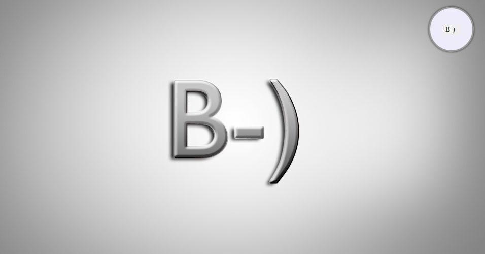Na imagem, o emoticon B-) é uma pessoa de óculos escuros. O site 'Text Meanings' funciona como um dicionário de emoticons. O usuário digita o rostinho e a página traz o significado