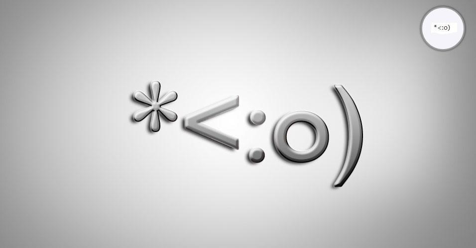 Na imagem, o emoticon *<:o) é um palhaço. O site 'Text Meanings' funciona como um dicionário de emoticons. O usuário digita o rostinho e a página traz o significado