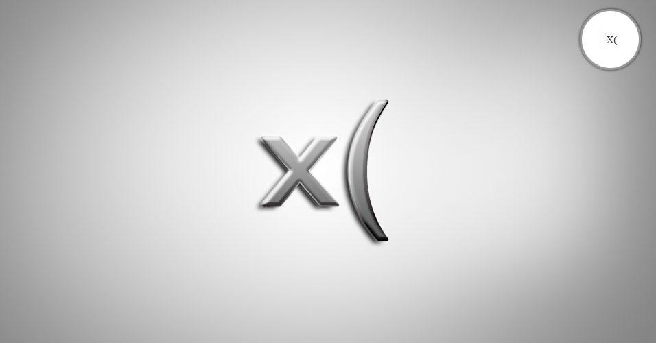 Na imagem, o emoticon x( é uma pessoa frustrada. O site 'Text Meanings' funciona como um dicionário de emoticons. O usuário digita o rostinho e a página traz o significado