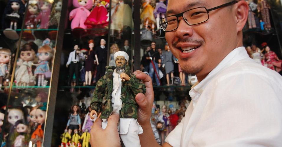 2.set.2013 - Boneco de Osama bin Laden faz parte da coleção de Jian Yang