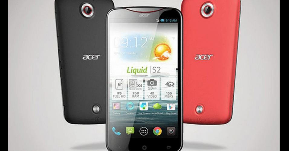 2.set.2013 - O Acer Liquid S2 tem tela de 6 polegadas, resolução 1920x1080, câmera traseira de 13 megapixels e frontal de 2 megapixels, processador quad-core de 2.2GHz, 2GB de memória RAM e 16GB de armazenamento. O lançamento do produto está previsto para o final de outubro, e ainda não há informações sobre preço