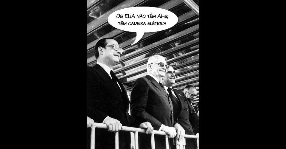 """""""Os EUA não têm AI-5, tem cadeira elétrica"""". A frase foi dita por Paulo Maluf em 1977, em plena ditadura militar, quando uma comissão norte-americana de direitos humanos, do governo de Jimmy Carter, fez viagem ao Brasil"""