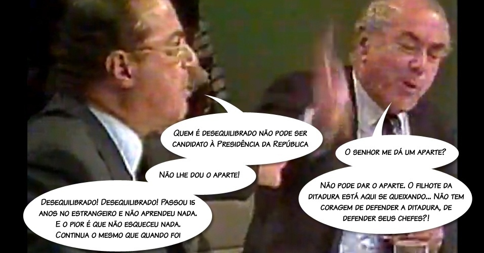 """Em discussão com Leonel Brizola, durante debate entre os presidenciáveis na TV Bandeirantes, em 1989, ele se revoltou ao ser chamado de """"filhote da ditadura"""" e disse que Brizola não aprendeu nada durante o exílio"""