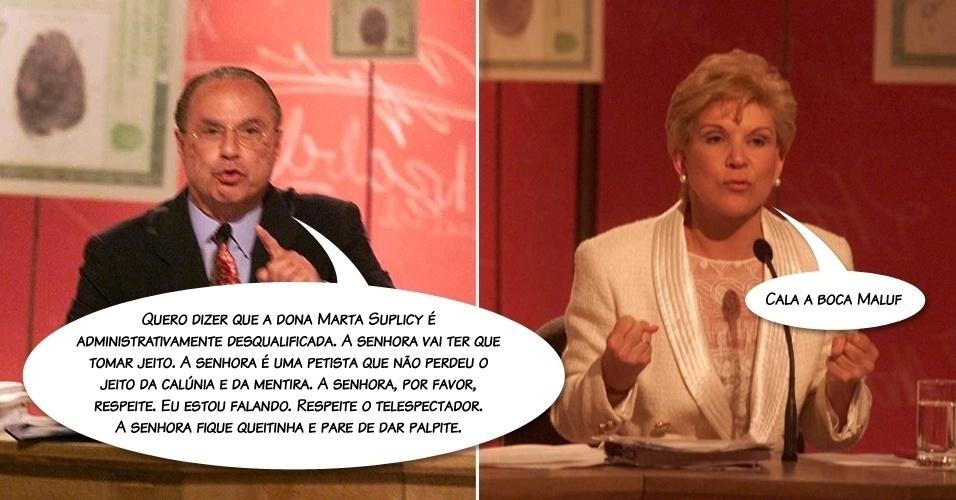 """Discussão com Marta Suplicy em debate na TV Bandeirantes, no segundo turno das eleições municipais de 2000. """"A senhora é desqualificada (...) fique quietinha"""", disparou"""