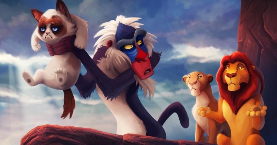 O designer Eric Proctor, mais conhecido pelo apelido de TsaoShin no site DevianArt, usa o Photoshop para inserir a gatinha mal-humorada Grumpy Cat em cenas de filmes da Disney. Acima, a gata aparece em cena do filme ''O Rei Leão''