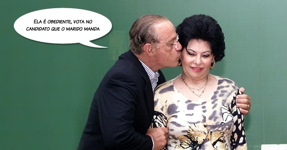 """""""Ela é obediente, vota no candidato que o marido manda"""", disse quando candidato ao governo de São Paulo, em 1998, ao referir-se à sua mulher, Sylvia Maluf"""