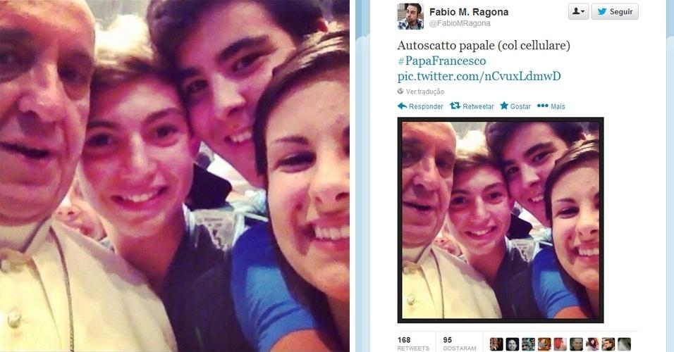 Se alguém precisava (ainda) de uma prova de que o papa Francisco é pop, basta ver a foto acima. O ''selfie'' (apelido em inglês para ''autorretrato''), muito comum nos perfis em redes sociais de celebridades, foi tirado com um grupo de jovens dentro da basílica de São Pedro, no Vaticano, durante encontro com peregrinos da diocese de Piacenza