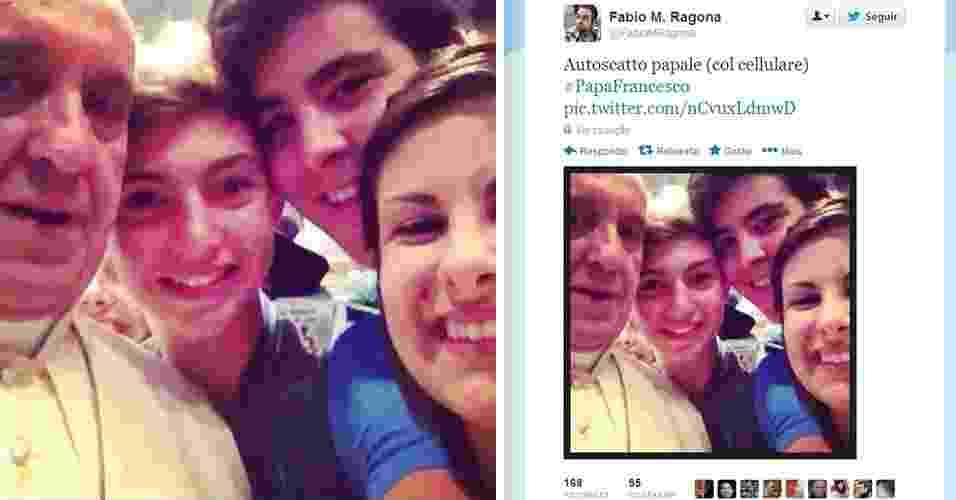 Se alguém precisava (ainda) de uma prova de que o papa Francisco é pop, basta ver a foto acima. O ''selfie'' (apelido em inglês para ''autorretrato''), muito comum nos perfis em redes sociais de celebridades, foi tirado com um grupo de jovens dentro da basílica de São Pedro, no Vaticano, durante encontro com peregrinos da diocese de Piacenza - Reprodução/Twitter/@FabioMRagona