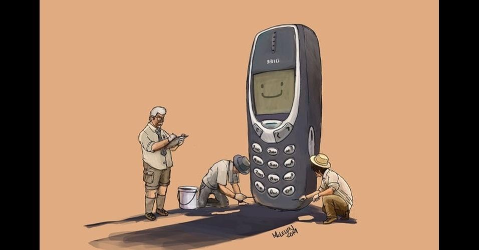Arqueólogos exploram um Nokia...