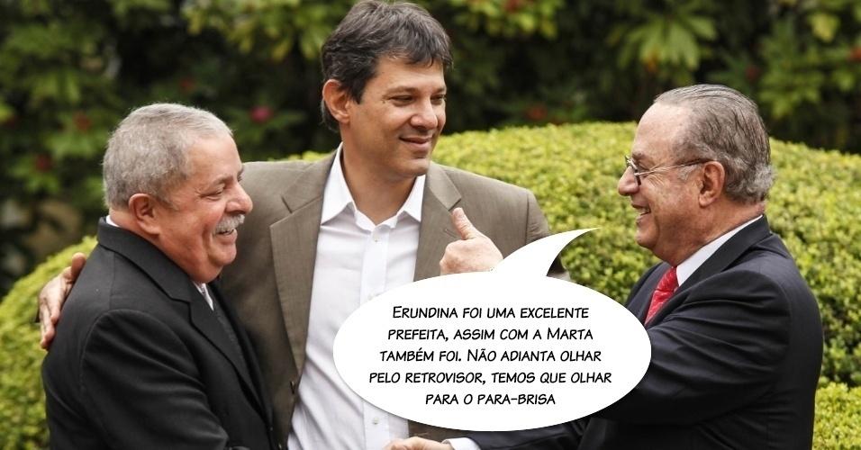 """""""Não adianta olhar pelo retrovisor, temos de olhar para o para-brisa"""", disse em 2012, após declarar apoio ao petista Fernando Haddad nas eleições municipais, sob a exigência de receber aperto de mãos do presidente Lula de frente para as câmeras"""