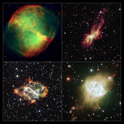 4.set.2013 - Astrônomos da Universidade de Manchester, na Inglaterra, exploraram 130 nebulosas planetárias no centro da nossa galáxia e descobriram que as parecidas com ampulhetas e borboletas, as chamadas nebulosas planetárias bipolares, se alinham misteriosamente no céu. O resultado foi considerado surpreendente por conta das diferentes características e propriedades entre as nebulosas planetárias, que surgem ao redor de suas estrelas progenitoras - dos três tipos identificados com os telescópios do Observatório Europeu do Sul (ESO, na sigla em inglês), apenas as nebulosas planetárias bipolares se comportam desse jeito