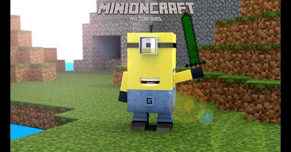 Na imagem, o Minion 'imitando' o jogo 'Minecraft'. Os Minions, da franquia de filmes 'Meu Malvado Favorito', garanham dezenas de versões diferentes nas mãos dos usuários