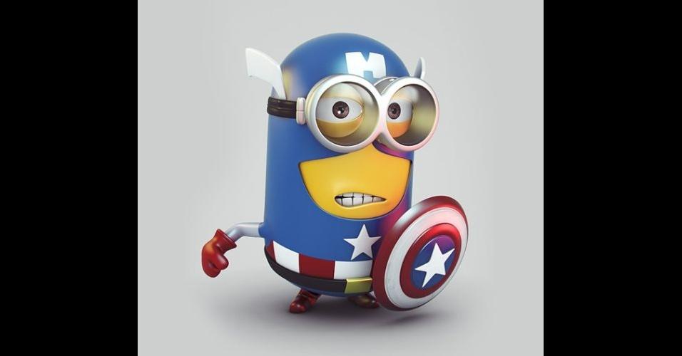 Na imagem, o Minion 'imitando' o personagem Capitão América. Os Minions, da franquia de filmes 'Meu Malvado Favorito', ganharam dezenas de versões diferentes nas mãos dos usuários