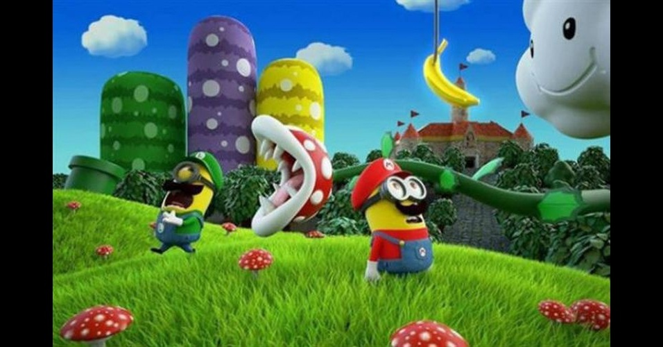 Na imagem, o Minion 'imitando' os personagens de videogame Mario e Luigi. Os Minions, da franquia de filmes 'Meu Malvado Favorito', ganharam dezenas de versões diferentes nas mãos dos usuários