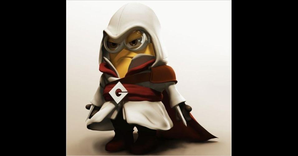 Os Minions, da franquia de filmes 'Meu Malvado Favorito', ganhou dezenas de versões diferentes nas mãos dos usuários. Na imagem, o Minion 'imitando' o personagem principal do jogo 'Assassin's Creed'