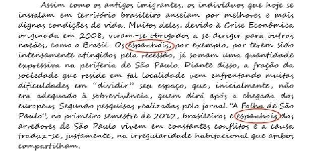 Trecho de redação com nota máxima no Enem 2012 tem erro de português