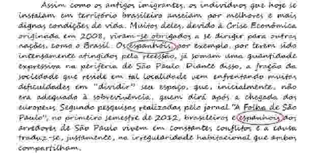 Trecho de redação com nota máxima no Enem 2012 tem erro de português  - Reprodução/MEC
