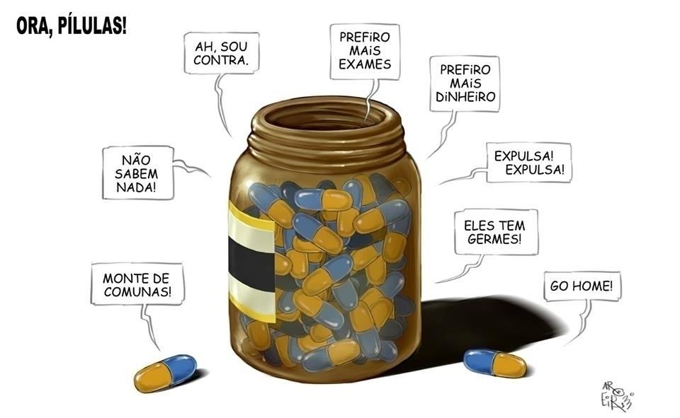 """6.set.2013 - Charge do cartunista Aroeira, do jornal """"O Dia"""", transforma em """"pílulas"""" as críticas ao programa Mais Médicos"""