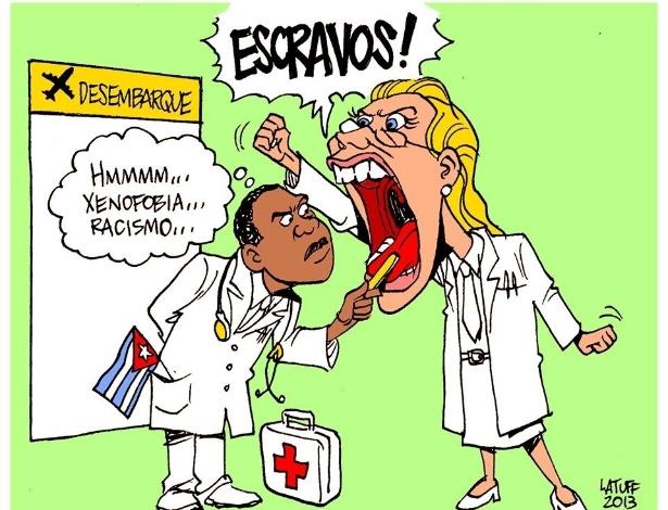 """6.set.2013 - Charge feita pelo cartunista Carlos Latuff para o jornal """"Sul 21"""" critica os médicos brasileiros que protestaram na chegada de médicos cubanos ao Brasil"""