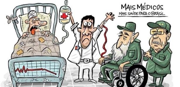 6.set.2013 - O cartunista Bruno Galvão critica os termos de contratação de médicos cubanos para o programa Mais Médicos