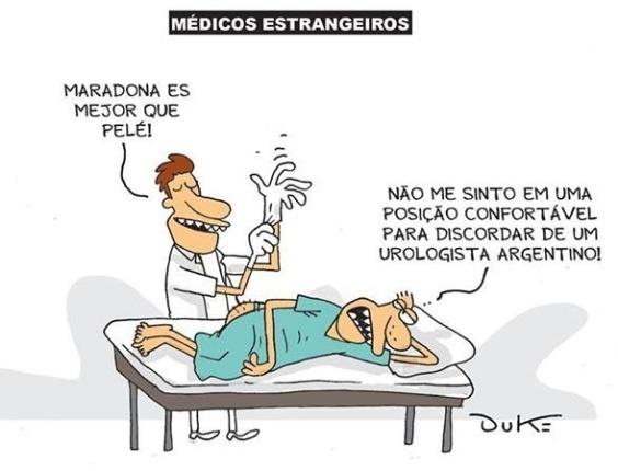 6.set.2013 - O cartunista Duke trata com bom humor a presença de médicos argentinos no programa Mais Médicos