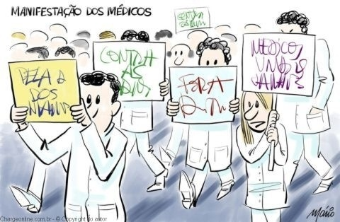6.set.2013 - O cartunista Mário satirizou os protestos de médicos brasileiros contra o programa Mais Médicos, que trouxe médicos estrangeiros ao Brasil
