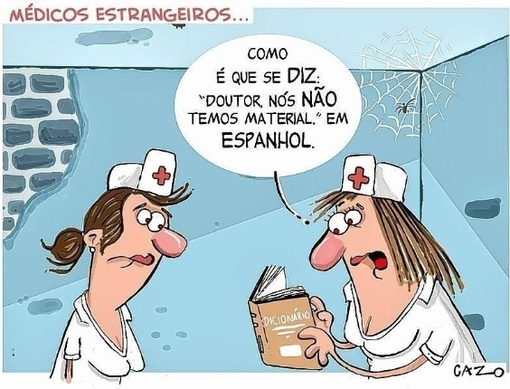 6.set.2013 - O chargista Cazo critica as condições do SUS (Sistema Único de Saúde) em charge sobre a chegada de médicos estrangeiros ao Brasil
