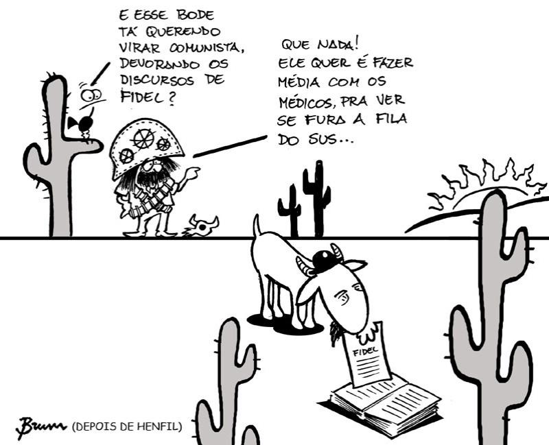 6.set.2013 -O cartunista Rodrigo Brum faz uma crítica a chegada dos médicos cubanos ao Brasil