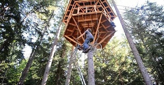 8.set.2013 - Para chegar mais rápido a sua casa na árvore, Ethan Schlussler, 22, construiu um elevador diferente. Ele desenvolveu um elevador-bicicleta, que o permite chegar em casa em apenas 30 segundos, basta apenas pedalar