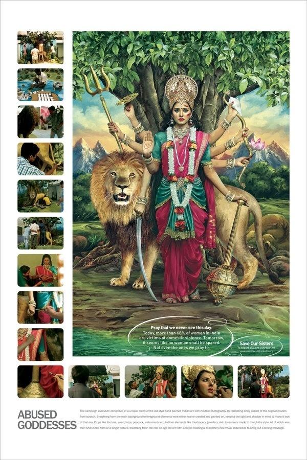 9.set.2013 - Cartazes alertam que, se as mulheres, que representam divindades na cultura hindu, continuarem vítimas de agressão, em alguns dias não haverá nenhuma, nem mesmo para adorar