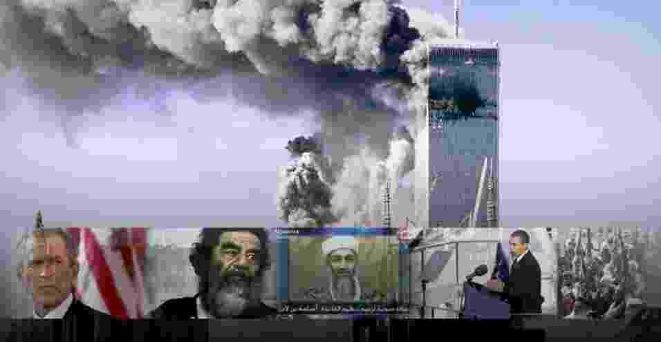 Após os ataques ao World Trade Center, em Nova York, em 11 de setembro de 2001, os EUA iniciaram uma guerra contra o terror, à procura dos responsáveis pelos atentados. Desde então, duas guerras foram iniciadas, no Afeganistão e no Iraque, atendados terroristas ocorreram em outros países e o líder da Al Qaeda, Osama Bin Laden, foi capturado e morto. Relembre os principais acontecimentos da guerra contra o terror após o 11/9 - Arte UOL