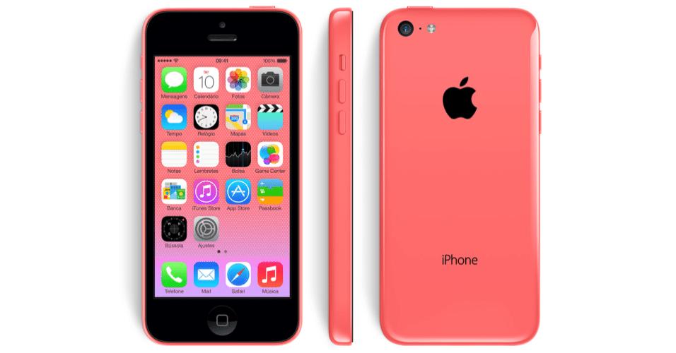 Acima, o iPhone 5C vermelho. As outras opções de cores são azul, amarela, verde e branca
