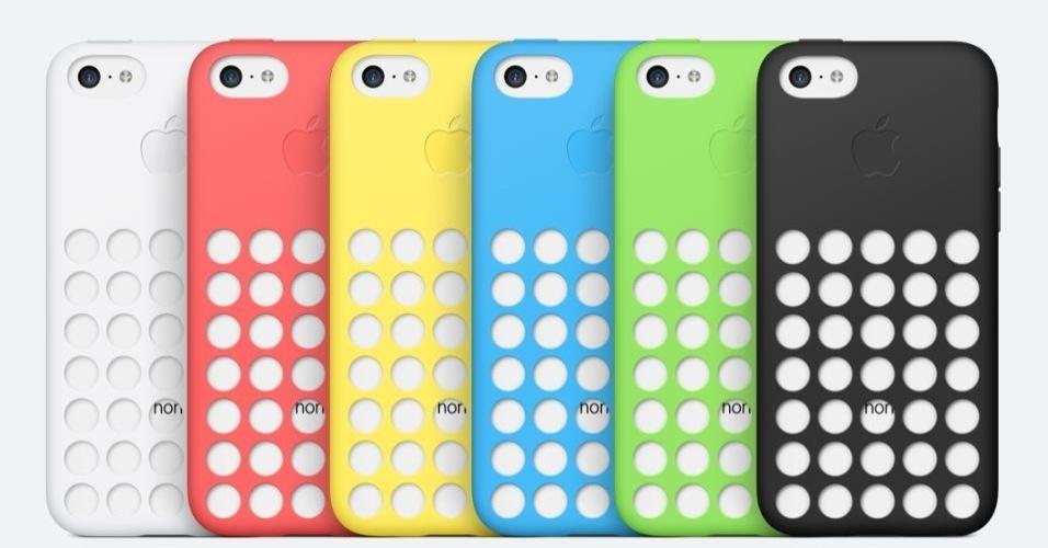 Além dos smartphones serem coloridos, a Apple venderá capas em várias cores e com esses círculos vazados. Acima, o iPhone 5C vermelho equipado com as capinhas coloridas (US$ 29 ou cerca de R$ 66)