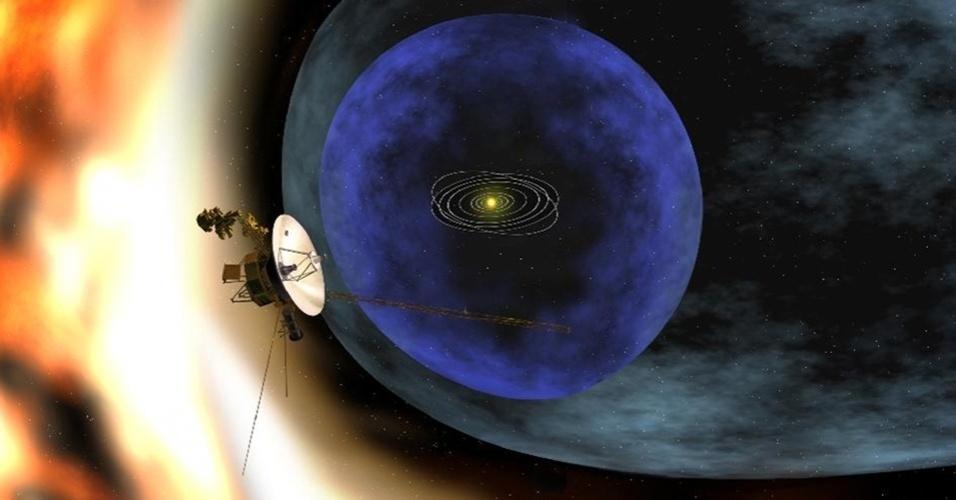 12.set.2013 - Concepção artística mostra a Voyager 1 se afastando dos limites da heliosfera, uma 'bolha magnética' criada pelo vento solar em torno do nosso sistema planetário. A Nasa (Agência Espacial Norte-Americana) anunciou que a nave atravessou a 'fronteira' do nosso Sistema Solar e entrou no espaço interestelar em 25 de agosto de 2012