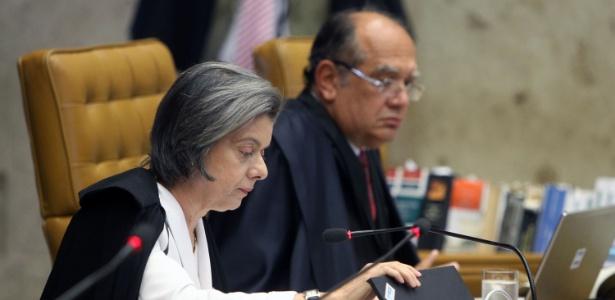 A presidente do STF, Cármen Lúcia, e o ministro Gilmar Mendes, alvo de ação da PGR