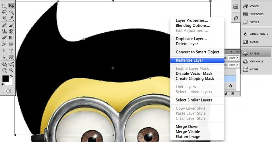 Na guia Layers (Camadas), clique com o botão direito sobre camada do cabelo e selecione Rasterize Layer (Rasterizar Camada)