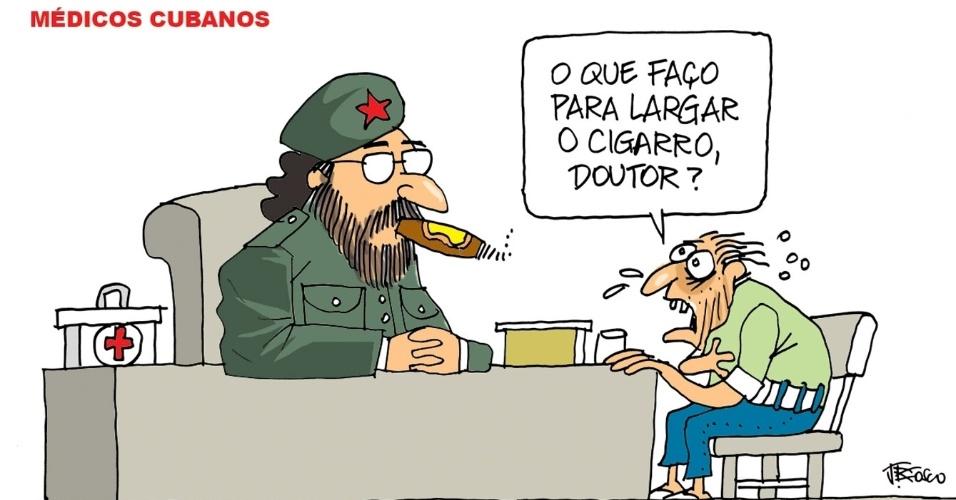 13.set.2013 - A charge de J. Bosco brinca com o hábito dos cubanos de fumar charuto