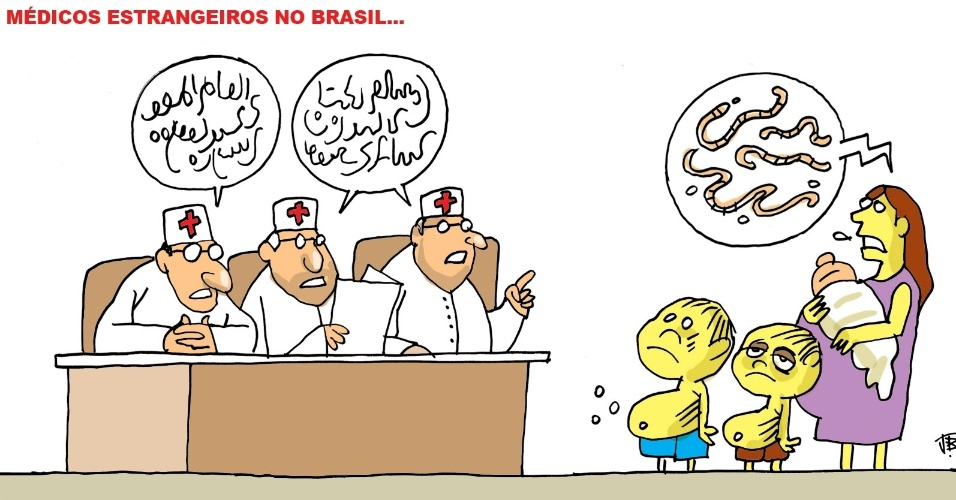 13.set.2013 - A charge de J. Bosco critica os possíveis problemas de comunicação entre a população e os médicos estrangeiros