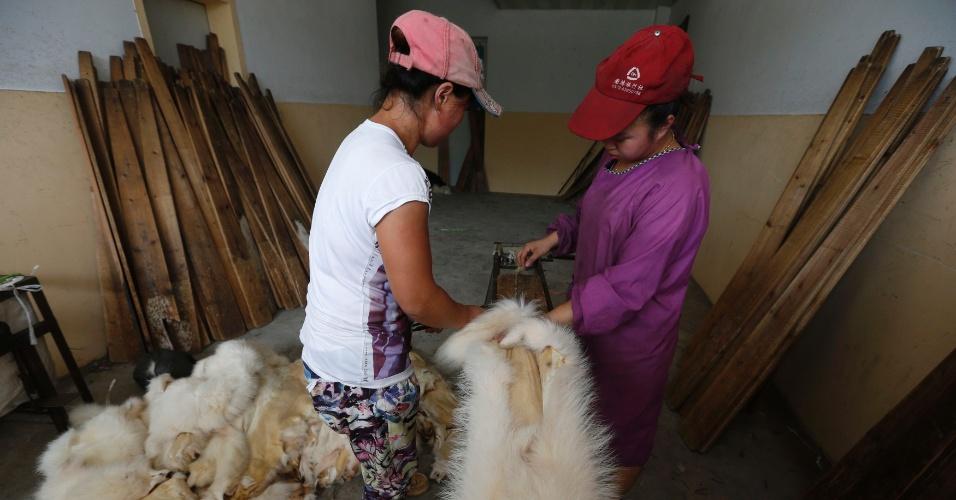 13.set.2013 - Duas funcionárias de uma das lojas de pele de Chongfu, na China, colocam pele de cachorro em uma prancha de madeira para secar em uma oficina, nesta sexta-feira (13). Apesar dos protestos pelo mundo por conta da crueldade com os animais, toda a produção é autorizada pelo governo