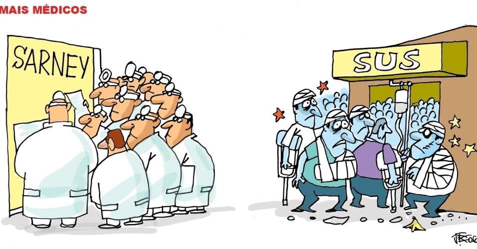 13.set.2013 - O chargista J. Bosco critica a falta de médicos para a população brasileira assistida pelo SUS (Sistema Único de Saúde)