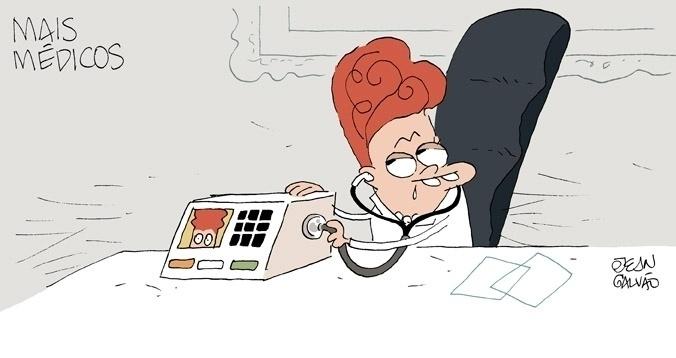 13.set.2013 - O chargista Jean Galvão ilustra com humor o aumento da popularidade da presidente Dilma Rousseff com início do programa Mais Médicos