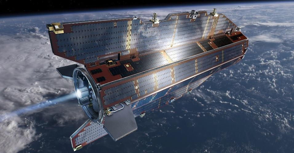 """15.set.2013 - Depois de mais de quatro anos mapeando a gravidade da Terra, o satélite Goce vai começar sua jornada de volta ao nosso planeta no mês que vem, informou a Agência Espacial Europeia (ESA, na sigla em inglês). É que o combustível do equipamento, apelidado de """"Ferrari do espaço"""" quando foi lançado em março de 2009, deve acabar em meados de outubro, que o fará cair de uma distância de 224 quilômetros de altitude. Grande parte do satélite deverá se desintegrar na reentrada da atmosfera terrestre, mas algumas partes podem atingir o globo. Segundo a ESA, são pequenas as chances de esse processo ferir as pessoas, já que 2/3 do globo é coberto por água e áreas inabitadas. A reentrada deve ocorrer até três semanas depois do fim do combustível"""