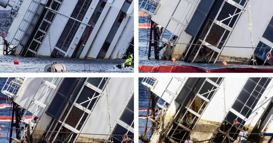 16.set.13 - Conjunto de imagens compara a posição do navio Costa Concordia antes e depois do início da operação de retirada da embarcação nesta segunda-feira (16), na Itália. O transatlântico naufragou em 2012 na ilha de Giglio (Itália), matando 32 pessoas