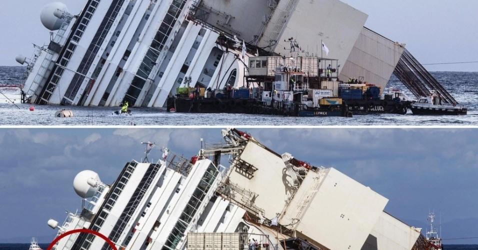16.set.13 - Montagem compara antes e depois do início da operação de retirada do navio Costa Concordia nesta segunda-feira (16), na Itália. Na segunda imagem, pode se ver a marca da parte do navio que estava submersa