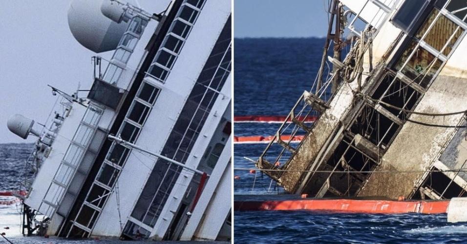 16.set.13 - Montagem compara o navio Costa Concordia antes (e) e depois do início da operação que vai içar a embarcação. A parte mais escurecida mostra o lado do navio que estava submerso. O Costa se acidentou em 2012 perto da ilha de Giglio, na Itália, causando a morte de 32 pessoas