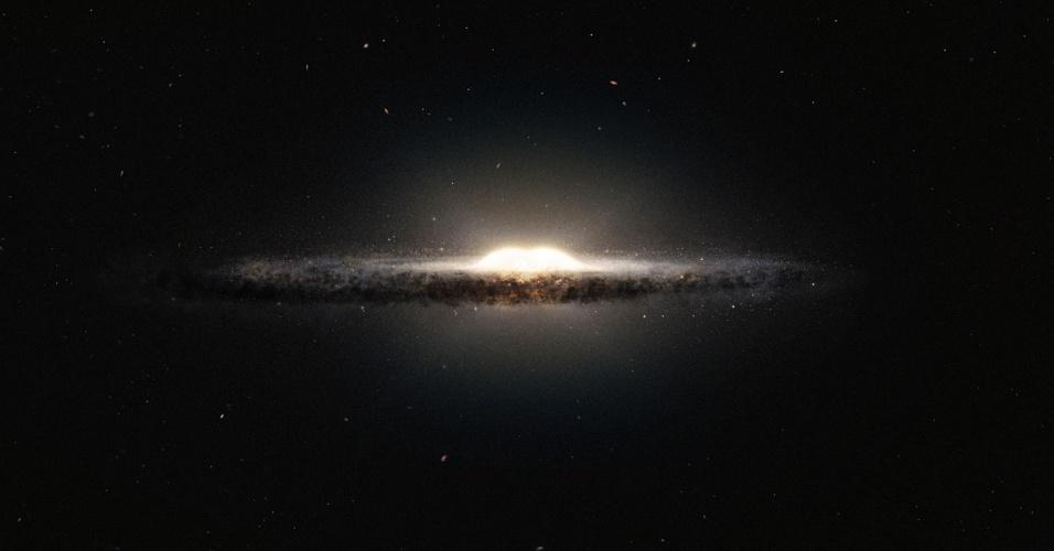 16.set.2013 - Astrônomos fizeram o mapa 3D mais completo da nossa galáxia usando dados de telescópios do Observatório Europeu do Sul (ESO, na sigla em inglês). Na concepção artística acima, a Via Láctea é vista praticamente de perfil e de uma perspectiva completamente diferente da que temos a partir do nosso planeta. O bojo central, localizado a cerca de 27 mil anos-luz de distância da Terra, parece uma bola brilhante com suas 10 bilhões de estrelas e os braços em espiral e as suas nuvens de poeira formam uma faixa estreita